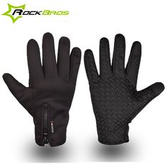 ROCKBROS Cycling Gloves Thermal Windproof Sports Touch Screen Gloves Bicycle Motorcycle Skiing Hiking Gloves