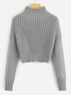 Mar 2020 - Mock-Neck Drop Shoulder Crop Jumper – GaGodeal Sweater Outfits, Fall Outfits, Casual Outfits, Fashion Outfits, Cute Sweaters, Winter Sweaters, Cute Jumpers, Perfect Outfit, Grunge Look
