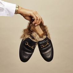 Silk Blouse, $238, equipmentfr.com; Tank Anglaise Watch, $23,500, Cartier, 800-227-8437; Leather and Fur Slippers, $995,...