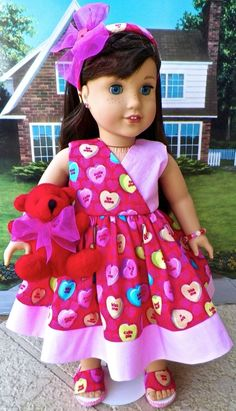 American Girl doll Grace, 6pc, Be my Valentine Summer dress fits 18 inch dolls