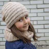 "Beanie and cowl set ""Kari"". Knitting pattern for beginners."