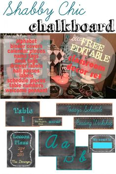 Shabby Chic Chalkboard Decor Shabby Chic Chalkboard FREE Editable Decor Set for the Classroom High School Classroom, Classroom Crafts, Classroom Design, Future Classroom, Classroom Themes, Chalkboard Classroom, Chalkboard Decor, Chalkboard Labels, Class Decoration
