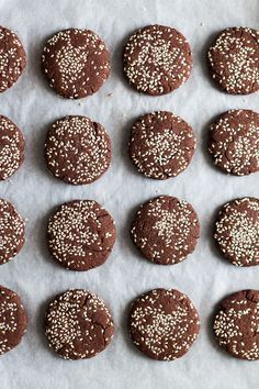chocolate tahini cookies top down