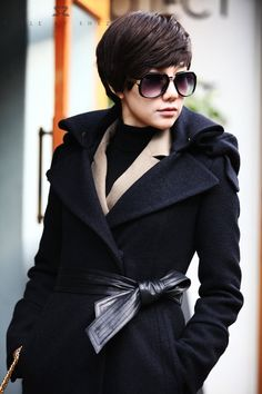 Lovely Black Coat with Leather Belt
