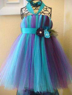 Plum and Teal peacock tutu dress. flower girl