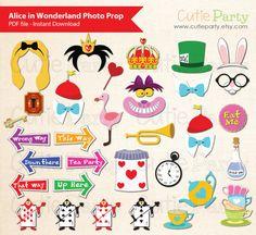 Alice in Wonderland Photo Booth Prop Children Party von Cutieparty
