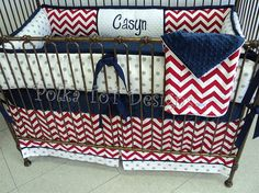 Casyn Baby Bedding: Red White Blue & Gray by PolkaToTBedding
