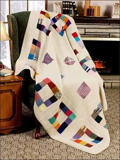Patchwork Squares Afghan Free Knitting Pattern