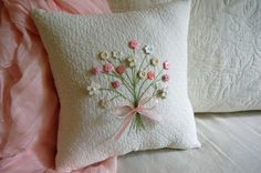 Decorative Pillow w/ Soft Pink and White Floral Button Bouquet -Hand Embroidered Stems w/ Vintage Style Flower Buttons
