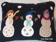 Wool Snowmen Pillow...
