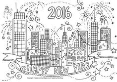 2016 New Year city colouring page
