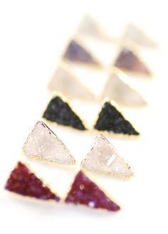 Ano'i earrings - gold triangle druzy stud earrings, triangle post earrings, gold stud earrings, www.kealohajewelry.etsy.com Maui Hawaii