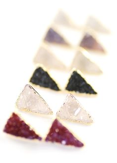 Ano'i earrings  gold triangle druzy stud by kealohajewelry on Etsy, $40.00