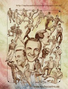 """Gene Kelly,illustration from the book """"Hombres de Hollywood"""".Nacho Castro.Diábolo ediciones"""