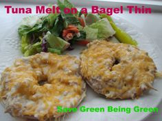 Tuna Melt Made on a Thomas' Bagel Thin toasted in the toaster oven, delicious comfort food Toaster Oven Cooking, Toaster Oven Recipes, Bagel Thins, Bagel Bar, Easy Delicious Recipes, Great Recipes, Yummy Food, Fish Recipes, Snack Recipes