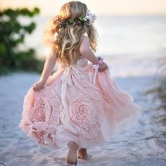 Cute Spaghetti Straps Flower girl Dresses with Flowers