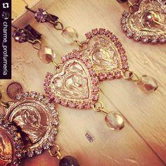 fashion earrings, heart, orecchini santino, matildesign, made in Italy, bijoux