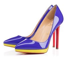 Christian Louboutin Heels New 2015 Blue Yellow Pervenche Poppy Mimosa Pumps
