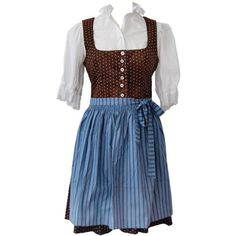 Vintage Brown Blue Traditional Austrian Dirndl Dress - Bows & Bandits... ❤ liked on Polyvore featuring dresses, costumes, blue day dress, brown dress, blue vintage dress, bow dress and brown vintage dress