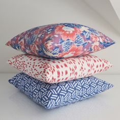 Do you have a thing with pink and blue? I do! This pillow mix starts with a gorgeous floral, then adds a chic animal print and a fun geometric.