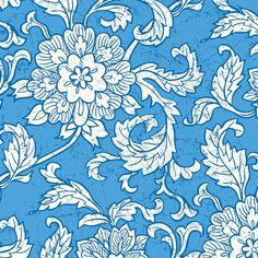 Vintage Summer  Gardenias in Blue