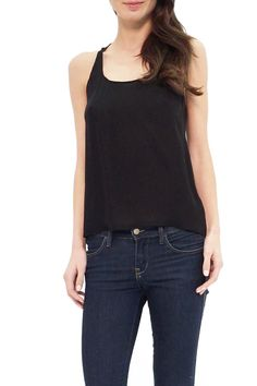 Sleeveless silk tank in onyx silk with split open back. Perfect tank for everyday to wear with black pants to work or wear with jeans for everyday.  Jessica Black Tank by Tangerine NYC. Clothing - Tops - Sleeveless Clothing - Tops - Tees & Tanks Back Bay Boston Massachusetts