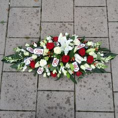 A #floralspray in memory of a #Fulhamfootballclub #fan, in red and white #flowers with #Fulham club shields. Florist London, Funeral Tributes, Same Day Flower Delivery, Fulham, White Flowers, Red And White, Fan, Seasons, Club