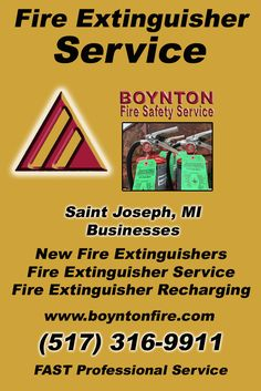 Fire Extinguisher Service Saint Joseph (517) 316-9911.. Local Michigan Businesses you have found the complete source for Fire Protection. Fire Extnguishers, Fire Extinguisher Service.. We're got you covered..