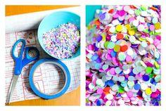 Los materiales listos para hacer los individuales, mira que confeti mas colorido.