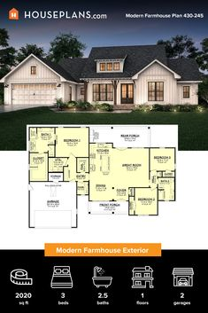 Check out this modern farmhouse exterior. Inside, an open floor plan creates a casual vibe. Click the image for more details. Questions? Call 1-800-913-2350 today. #blog #architecture #modern #bungalow #architect #architecture #buildingdesign #country #craftsman #houseplan #homeplan #house #home #homeblog Modern Farmhouse Exterior, Modern Farmhouse Kitchens, Farmhouse Design, Farmhouse Style, Barndominium Plans, Home On The Range, Modern Bungalow, Country House Plans, Open Floor