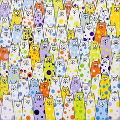 "catsbeaversandducks:    We need more polka dot cats.  Illustration by ©dianaparkhouse: ""Berry Berry Nice"""