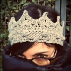 Wool crown crochet knit headband head warmer hat