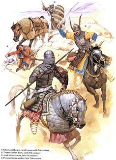 Khurasani heavy cavalryman, Transonxanian Turk, Arab infantry man and Persian hors-archer. 7th-8th centuries