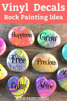 Can't master hand lettering? Use vinyl decals instead. This unique rock painting supply is perfect for creating kindness rocks or making rocks for gifts. #rockpainting101 #paintedrocks #vinyl Rock Painting Supplies, Rock Painting Ideas Easy, Christmas Rock, Christmas Signs Wood, Painted Rocks Craft, Hand Painted Rocks, Wood Craft Patterns, Vinyl Crafts, Vinyl Projects