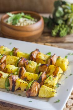 use gf soy sauce Grilled Teriyaki Chicken and PIneapple Kebabs - teriyaki chicken, sweet juicy grilled pineapple, and crisp green pepper Cheesy Baked Chicken, Baked Chicken Legs, Healthy Chicken, Chicken Recipes, Lemon Chicken, Grilling Recipes, Cooking Recipes, Healthy Recipes, Simple Recipes