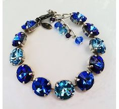 New Swarovski Rivoli Aquamarine/Sapphire Crystal Silverplate Bracelet