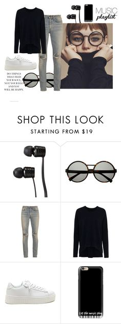 """""""Music playlist"""" by kgarden ❤ liked on Polyvore featuring Vans, Yves Saint Laurent, French Connection and Casetify"""