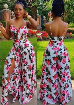 White Floral Print Backless Cut Out Spaghetti Strap Slit Wide Leg Long Jumpsuit Sexy Outfits, Summer Fashion Outfits, Curvy Outfits, Sexy Dresses, Girl Outfits, African Wear Dresses, Latest African Fashion Dresses, African Print Fashion, Long Jumpsuits