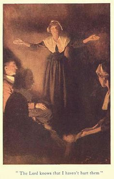 """The Lord knows that I haven't hurt them"" illustration by Howard Pyle of Rebecca Nurse published in ""Dulcibel: A tale of old Salem"" by Henry Peterson circa 1907. #salemwitchtrials"