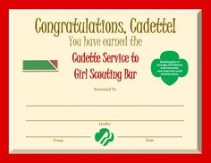 Cadette Service to Girl Scouting Bar Award Certificate