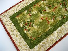Pine Needles Quilted Table Runner by PatchworkMountain on Etsy