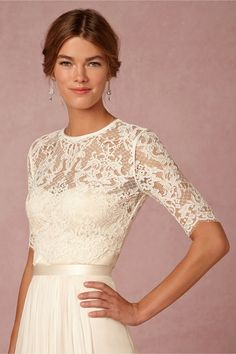 "{""Dasha"" Corded Lace Half Sleeve Bridal Topper With Jewel Neckline & Buttons Down The Back·····················}"