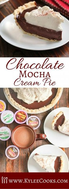 A dreamy, creamy, Chocolate Mocha Cream Pie, made all the more special with the addition of Kahlua, this dessert is perfect for Pi(e) Day!  I participated in Mom Blog Tour Winter Fancy Food Show (#MomBlogTourFF) on behalf of Wendy's Bloggers. I received Two Rivers Coffee products to facilitate my review, but my opinions and the recipe are my own.   Happy Pie Day! It would be remiss of me not to share one of my favorite pie recipes with you today, on March 14. I know, it's cheesy, but ...