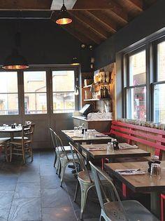 Restaurant Interior   INTERESTING BENCH IDEA  = inexpensive seating