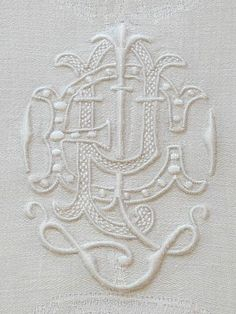Antique Monogrammed Linen Damask Napkins Large size, white on white embroidery, classic, and classy, add a touch of old work elegance to your dinner table.