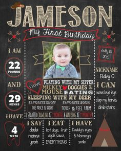 Cowboys and Indians, Western, Teepee First Birthday Chalkboard Poster DIGITAL FILE