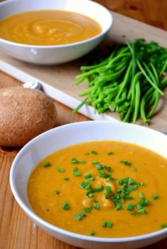 Roasted Sweet Potato and Parsnip Soup | • 3 sweet potatoes, peeled and diced • 2 parsnips, peeled and diced • 1 onion, roughly chopped • 4 cloves of garlic • 1 litre vegetable stock or bouillon • A handful of fresh chives, finely chopped • Salt and pepper • Olive oil