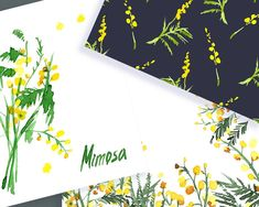 Mimosa flores imágenes prediseñadas acuarela dibujadas a   Etsy Wedding Stationery Sets, Wedding Invitations, Yellow Wedding Flowers, Clipart, Watercolor Flowers, How To Draw Hands, Hand Painted, Etsy, Blog