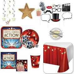 Hollywood Theme Party Decorations - Movie Night Premier Party Supplies -81 Pi... #HollywoodPartySupplies