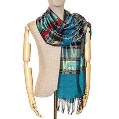 83a735402 Thai Silk Scarf Woven Scarves Shawls Cashmere Pashmina Blue Women Elephant  New